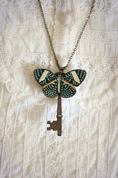 Butterfly key necklace