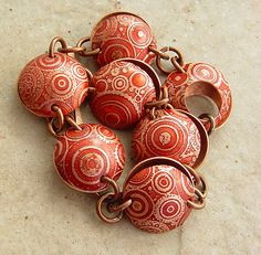 """Steampunk'd in Red, Etched Copper Circles and Cogs, Domed Bracelet, 7-7.5"""" Wrist. $57.00, via Etsy."""