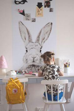 Bunny wallpaper in kid's room