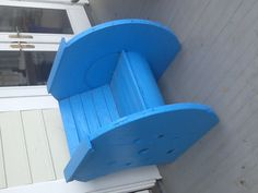 Chair made from cable spool.