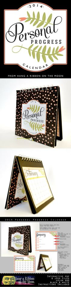 2014 Personal Progress Calendar. Great project for YW! FREE download from Hang a Ribbon on the Moon.