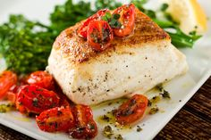 Roast halibut with thyme-roasted baby tomatoes, easy and healthy