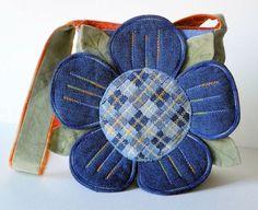 Denim Petals Upcycled Repurposed Fabric Purse old jeans bag, denim petal, petal upcycl, artworks, fabric purs, denim flower, repurpos fabric, upcycl repurpos, purses