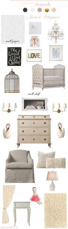 #elegant #french inspired #nursery gold and pink
