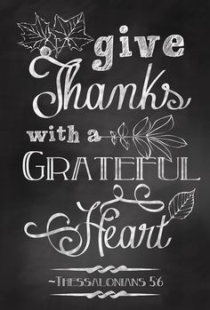 Give Thanks with a Grateful Heart Quote Chalkboard Art Sign Poster - Digital Print