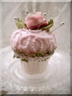 chenille cupcake pin cushion...