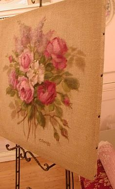 painting on burlap-so gorgeous
