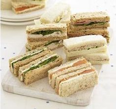 Tea sandwiches. Finger sandwiches.