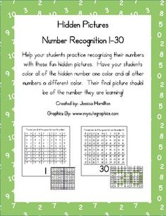 Hidden Pictures for Number Recognition 1-30