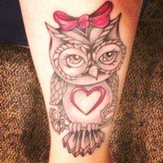 Girl owl tattoo