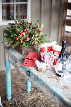 holiday parties, christmas tables, farms, farm christma, farm tables, country christmas, candy canes, rustic christmas, holiday tables