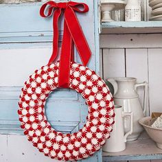 Peppermint candy wreath: Glue flat peppermints (you'll need about 250 for a 10-inch wreath) Glue cinnamon candies in the gaps...