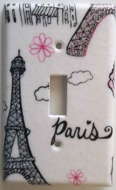 Paris Eiffel Tower Pink Glitter Light Switch Plate Cover Girl Bedroom