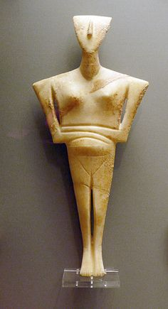 Marble figurine of the folded arm type. Chalandriani cemetery in Syros. Early Cycladic II period, Keros-Syros Culture, 2800-2300 BC.