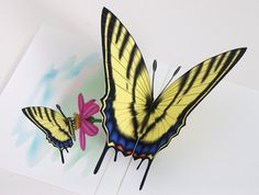 3D Popup Tiger Swallowtail Butterfly Card Any by CardNotions, $4.50