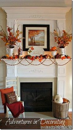Great #fallmantle and use of #fallcolors. #falldecoration #fireplace #livingroom