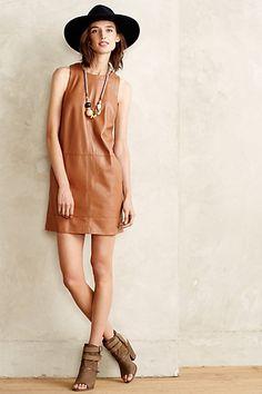 Vegan Leather Shift Dress #anthropologie