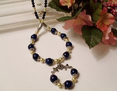 Blue Agate and Pearls Pendant Necklace, $50, #RomanticThoughts.etsy.com, #jewelry, #blue, #agate