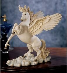 This classically trained artist captures the high-spirited flying horse of Greek mythology in stunning sculpture. Wind whipping through its mane, Pegasus takes to the sky as poetry in motion. Intricately sculpted, then cast in quality designer resin and meticulously hand-painted, this impressive work is sure to please lovers of the equestrian and fine arts.