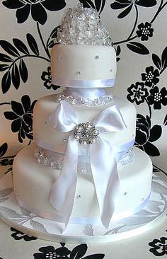 White wedding cake with edible diamonds