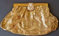 Clutch purse/ vintage Whiting & Davis/gold /micro mesh / alumesh/ 1930s Art Deco/