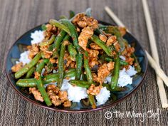Chinese Green Beans with Ground Turkey over Rice - The Weary Chef