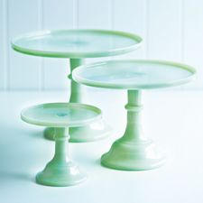 Milk glass cake stands at the general store: http://www.donnahay.com.au/shop-online/kitchen/green-glass-cake-stand-small