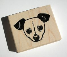 Custom pet portrait hand carved rubber stamp | DearYouFromKozue