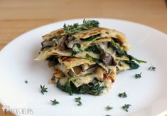 Spinach, Mushroom, and Thyme Quesadillas with Smoked Gouda