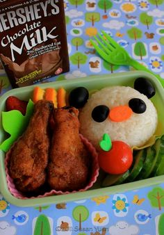 bento box, oven fried chicken, rice, lunch boxes, food, panda onigiri, box lunches, pandas, kid