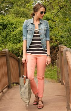 Get the look with CAbi spring '13: Creamsicle cropped bree jean ,new stripe tee & Denim jacket (vintage CAbi '11) www.cabionline.com
