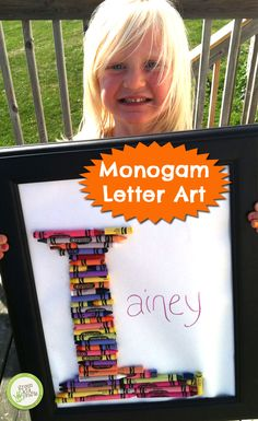 Fun project for kids of all ages and a great keepsake! http://www.greenkidcrafts.com/monogram-letter-art-crayons/