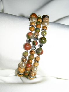 Natural Beauty Gemstone Beaded Memory Wire by BrownBoysMom on Etsy