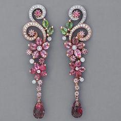 art deco jewelry, accessori, art deco jewellery, vintage earrings, ears, diamond earrings, jewelri, pink tourmalin, art nouveau