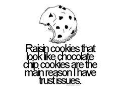 funny sayings, chocolate chips, funni, true stori, cooki, funny quotes, raisin, humor, trust issu