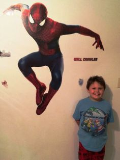 """How do you add action to your walls? Jessica C. and her son use #RoomMates #Spiderman #walldecals. """"All I can say is wow!! It was so easy and looks amazing!"""" Shop our #Spiderman #decals and decorate your walls! http://bit.ly/1mA5bQy"""