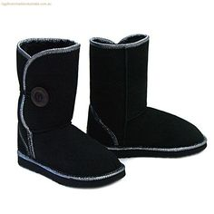 Jazz Button Wraps Ugg Boots - Black for just $209 from http://www.uggbootsmadeinaustralia.com.au
