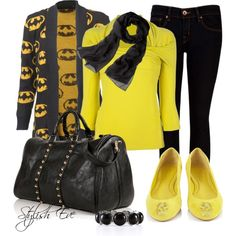 """""""Black & Yellow Outfit !"""" by stylisheve on Polyvore - Like the yellow & black but skip the batman cardigan"""