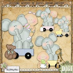 Elephant Toys 1 - Cheryl Seslar Country Clip Art