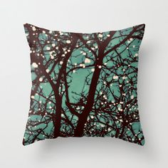Pillow Cover, Night Lights, Teal Blue, Tree Lights, Home Decor,  Living Room, Bedroom, 16x16, 18x18, 20x20 on Etsy, $36.00