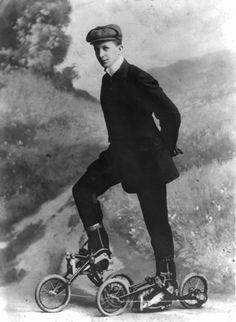 A young man wearing Edvard Petrini's pedaled roller skates, Sweden, 8 November 1910.