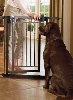 Limit your pet's access to certain areas of your home without sacrificing style with the 34-inch Expanding Tension Mount Pet Gate that features a handcrafted powdercoated tubular steel construction.
