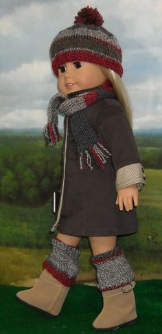 Brown Twill Coat Skirt and Tunic Outfit by SugarloafDollClothes