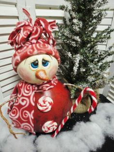 Handpainted Primitive Christmas Winter Snowman Doll Gourd cute inspiration for light bulb