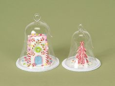 Candy House and Tree Under Glass Dome Cloche candies, candi hous, candi glitter, dome set, christma craft, hous dome, gingerbread houses, christma awesom, zulili today