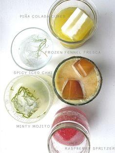 Hacer cócteles geniales con cubitos de hielo de sabores!