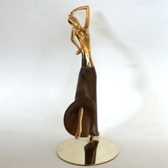 Early Brass & Walnut Dancing Figure by Hagenauer, 1930's