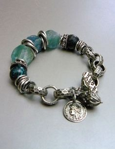Currents with Natural Apatite Nuggets, Turquoise