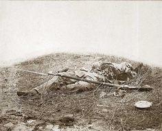 """Soldier in """"the wheat field"""". Battle of Gettysburg."""