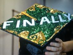 motorboard decorations | Graduation Cap Decorations / Green and gold #USF mortar board that ...